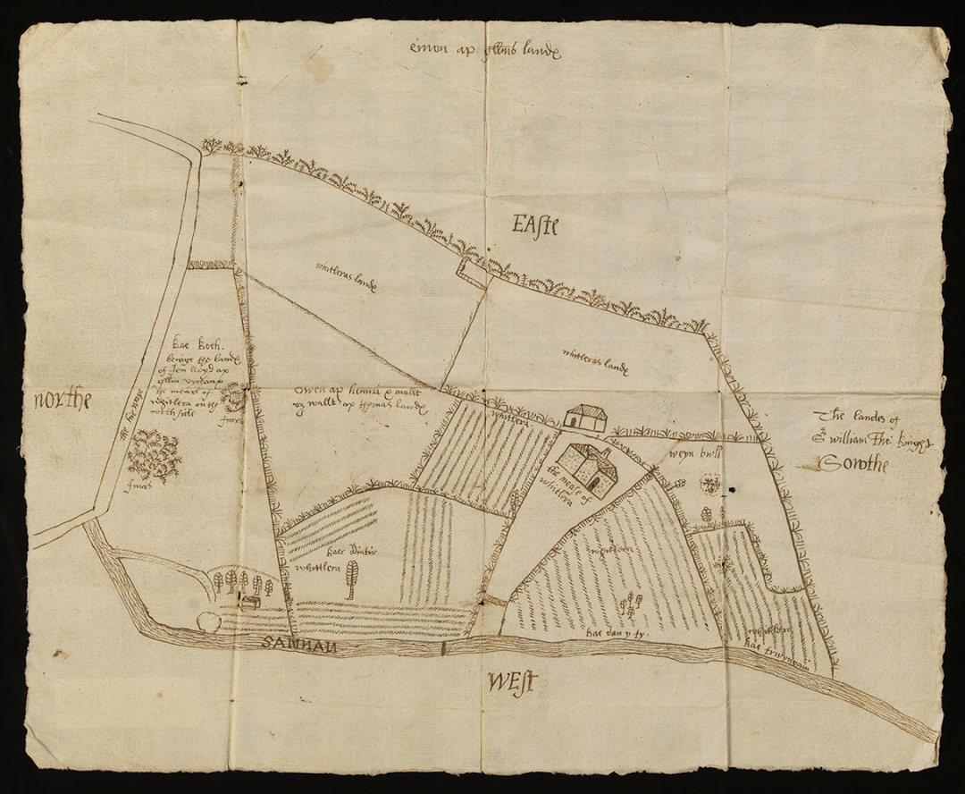 17th century map of Whitlera, Carmarthenshire