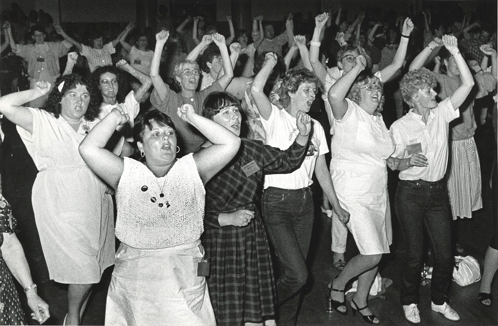 'Here we go for the women of the working class', Miners wives end the 1st National Conference of Women Against Pit Closures Sheffield Copyri